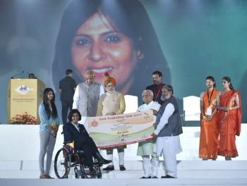 Prime Minister of india Rio Paralympic Silver Medalist Ms Deepa Malik felicitated with award of Rs 4 crore