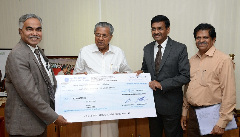 BEL Contributes Rs. 1.72 Crores to Kerala Flood Relief Fund