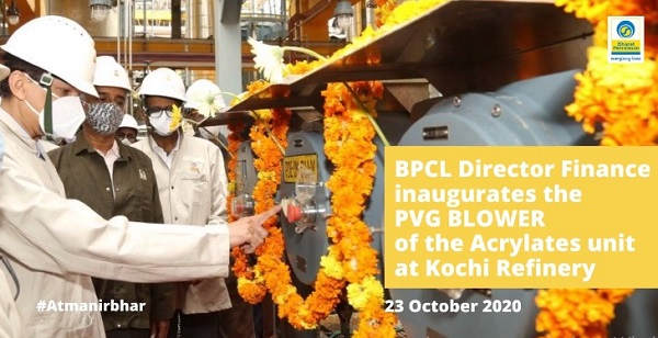 Bharat Petroleum Corporation director inaugurates the PVG blower of the Acrylates unit at Kochi Refinery