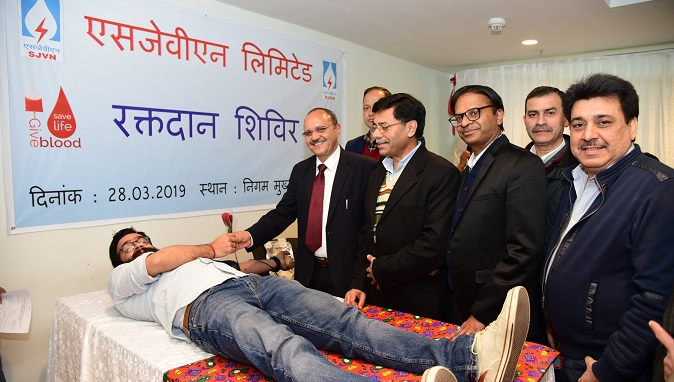 Highest Collection of Blood units during Donation Camp Organized by SJVN