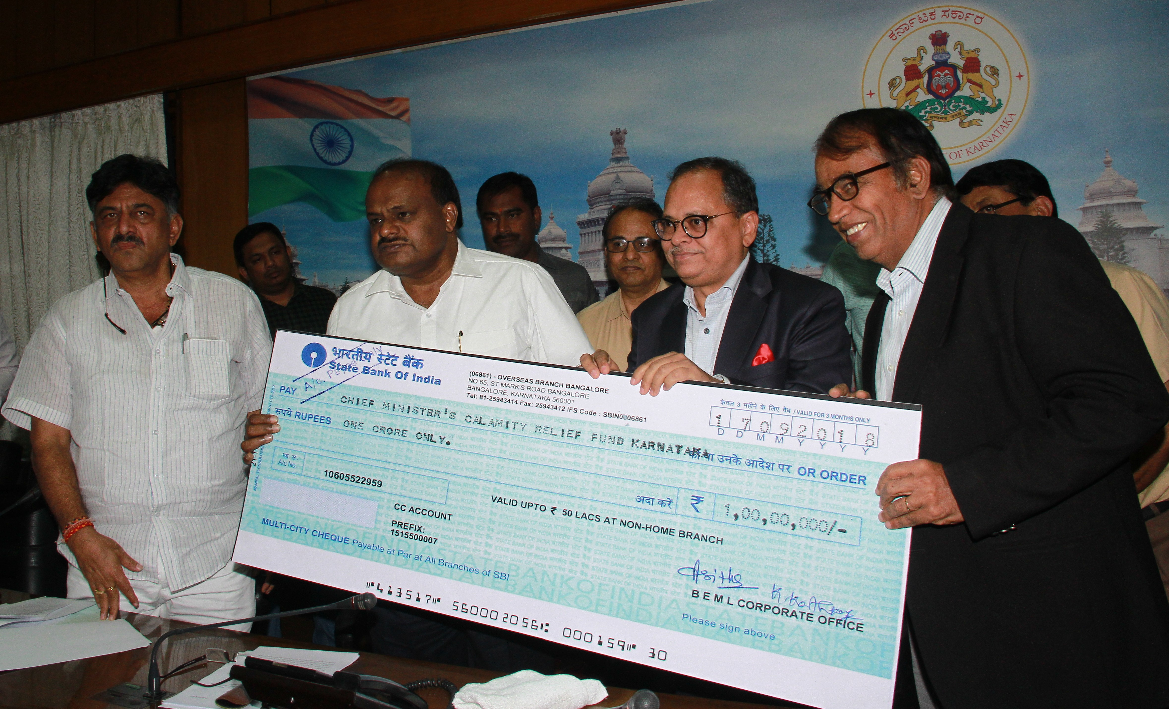 BEML Contributed Rs. 1.00 Crore in Karnataka Chief Minister s Relief Fund