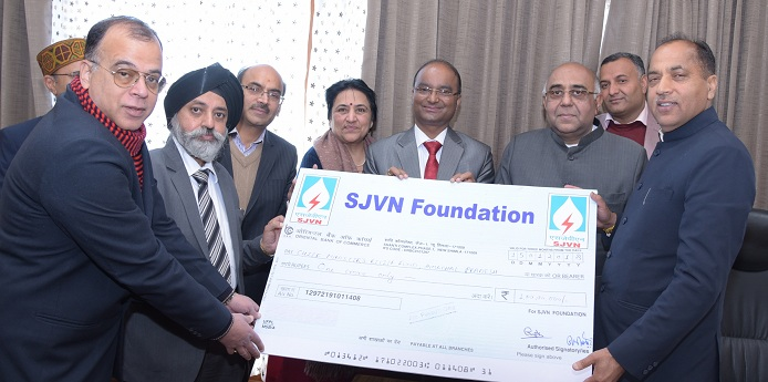 SJVN Foundation Contributed Rs 1,00,00,000 to CM Relief Fund