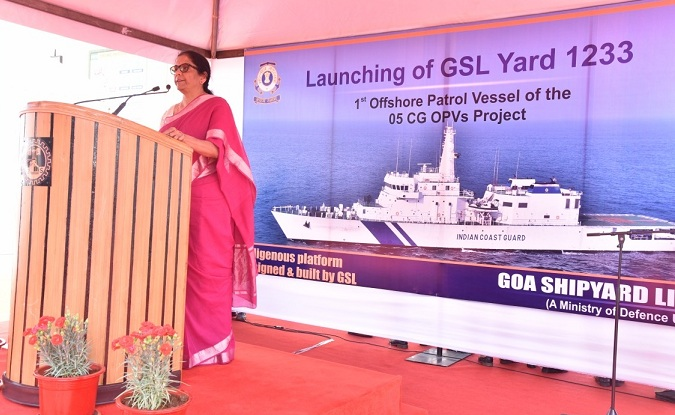 Defence Minister Launches Indigenous Coast Guard Offshore Patrol Vessel at GSL