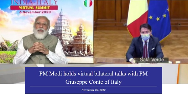 India-Italy Virtual Bilateral Summit held also signed 15 MoUs and Agreements