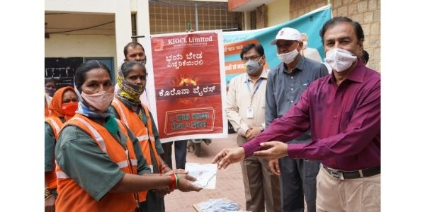 KIOCL distributed Face Masks to BBMP Workers