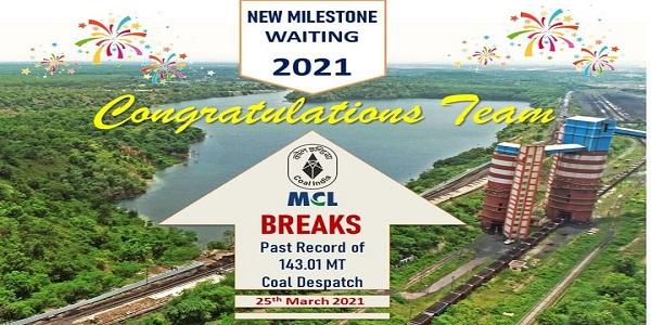 MCL surpasses previous Coal dispatch, registers 143.24 MT