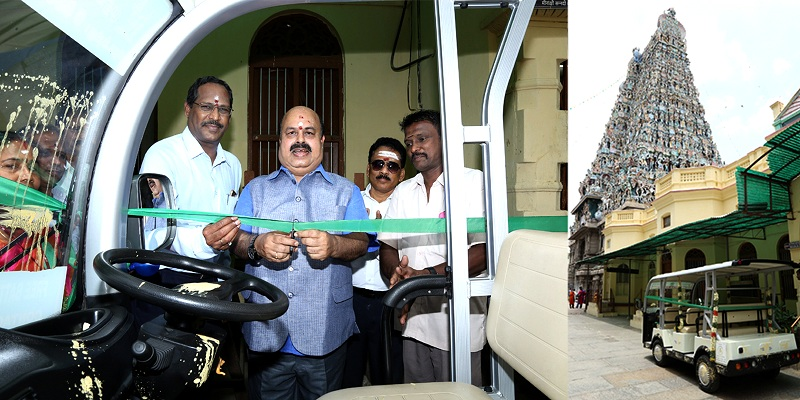 NLC India Ltd Presents a Battery Operated Vehicle to the Meenakashi Temple