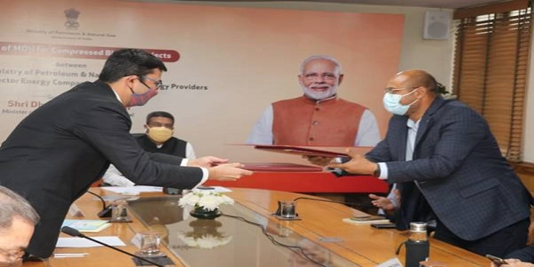 MoUs signed under SATAT initiative- Investment of 2 crores for 5000 CBG plants