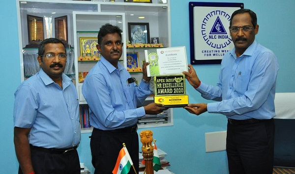 NLCIL conferred with Platinum Award under Apex India Training Excellence Award 2020