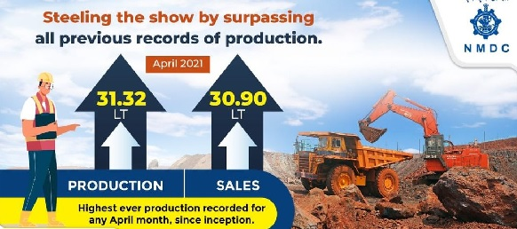 NMDC April Production increased by 74% with 125% sales
