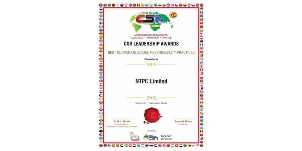 NTPC conferred with CSR Leadership Awards by World CSR Day Organisation