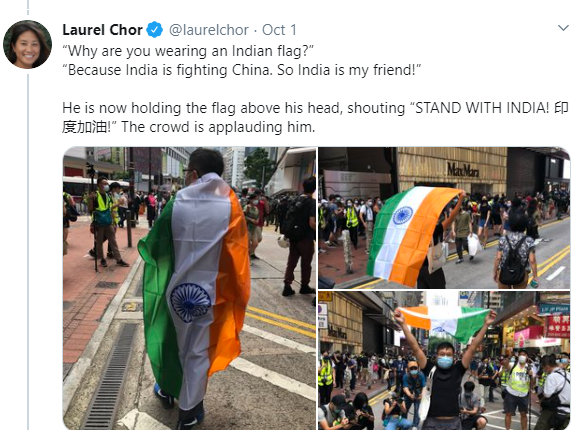 Hong Kong protester carries Indian flag said STAND WITH INDIA