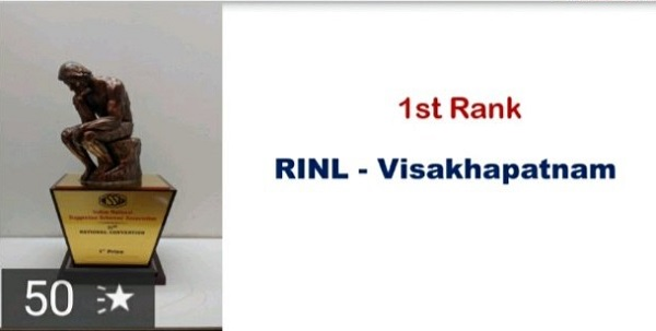 RINL bagged first prize for Excellence in Suggestion Scheme