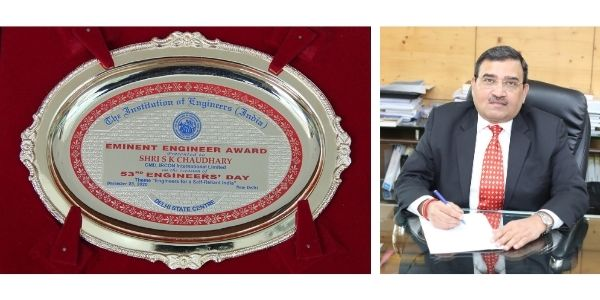 Shri S.K Chaudhary CMD Ircon presented with Eminent Engineer Award