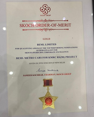 BEML Bagged SKOCH Award for Corporate Excellence
