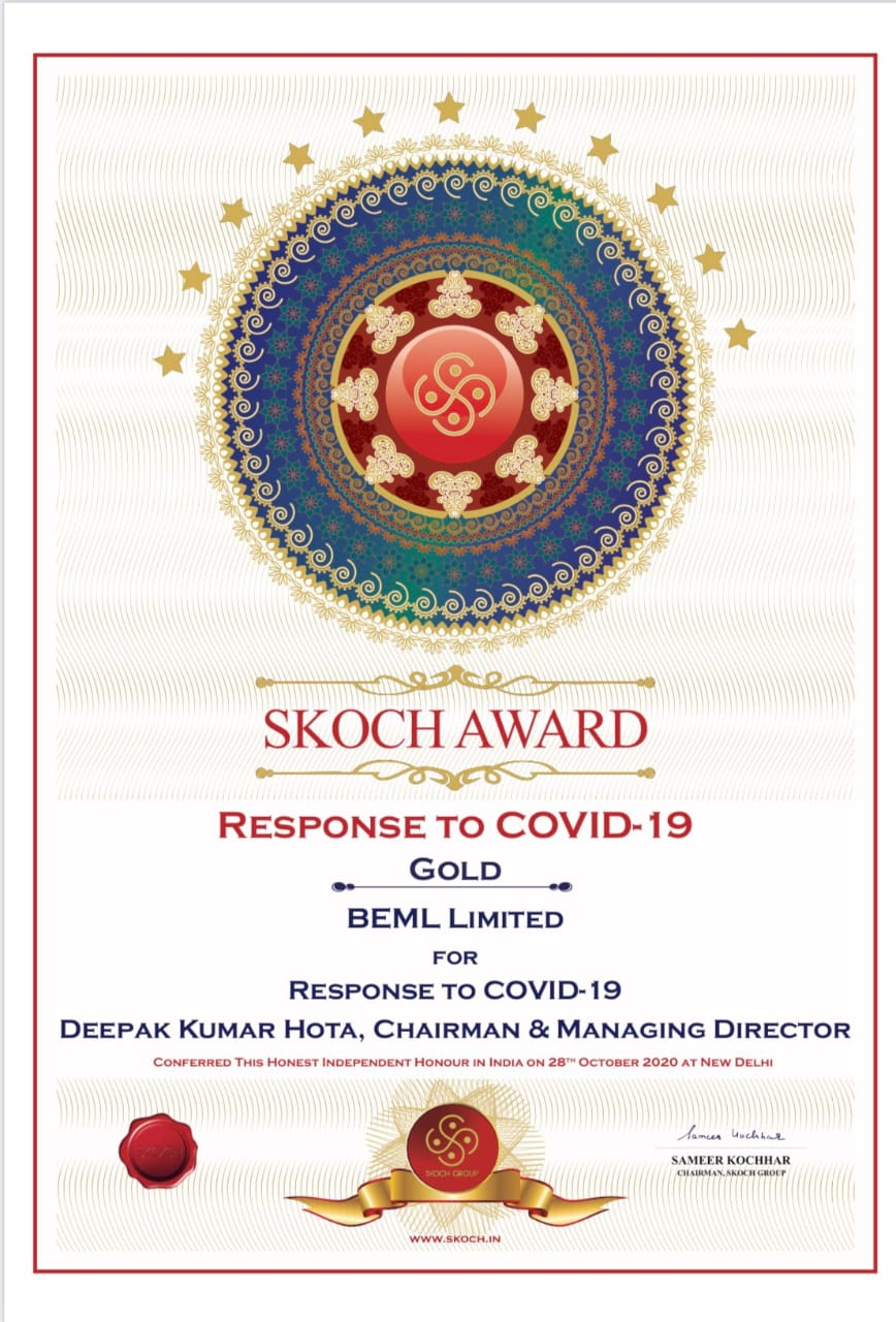 BEML bags SKOCH award to contain Covid-19