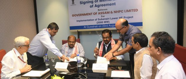 NHPC Sign MoU witg Assam Govt for implementation of 2000 MW Subansiri Lower Hydroelectric Project