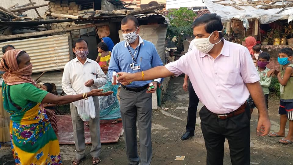 CMPDI Bilaspur distributed anti-septic bottles and soaps to the people