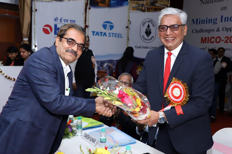 Shri P S Mishra CMD ECL Receiving IMMA Excellence Award