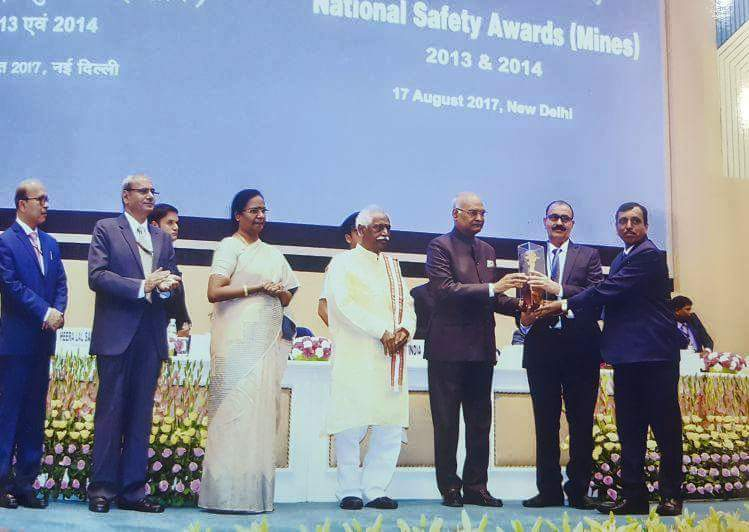 Honble President gives National Safety Award to W.C.L.