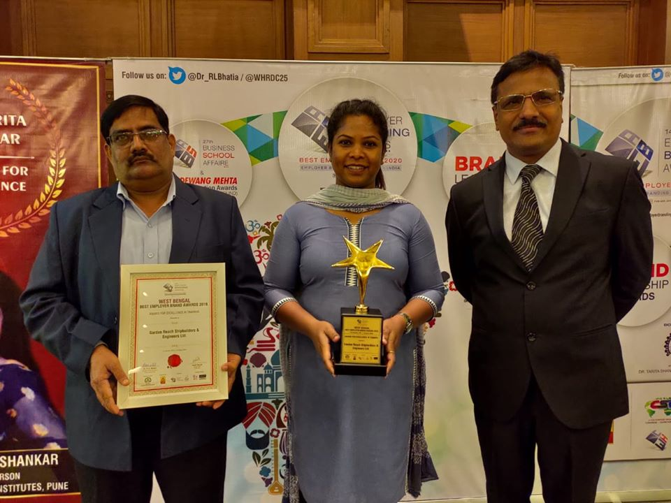 GRSE conferred Kolkata Best Employer Brand Awards 2019