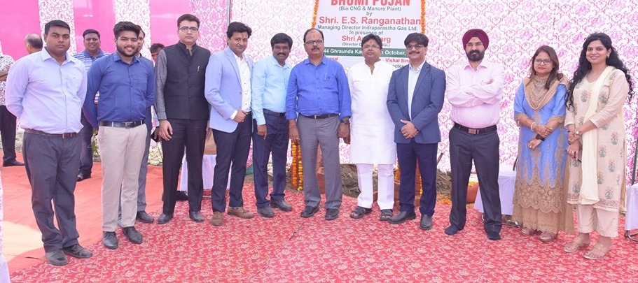 Shri E.S. Ranganathan Managing Director IGL today performed ground breaking ceremony