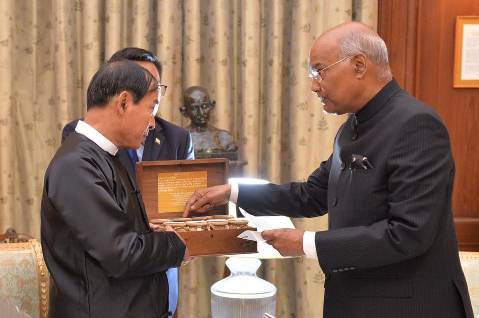 President Ram Nath Kovind gifted holy soil from 8 cities to president of Myanmar