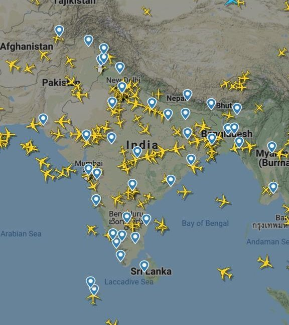 India Sky after opening of air space for domestic flights