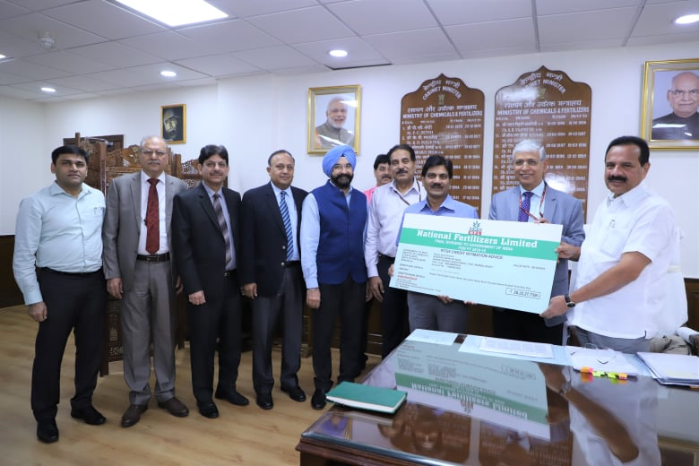 NFL Presents Dividend of Rs. 28.22 crore to Government
