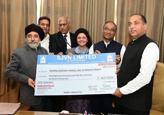 SJVN paid Rs. 68.58 Crore as Final Dividend to Govt. of Himachal Pradesh